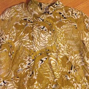 Mock turtleneck 3/4 sleeve paisley top 14